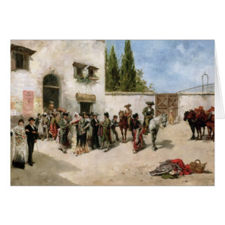 Bullfighters preparing for the Fight (oil on panel Greeting Card