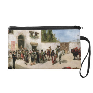Bullfighters preparing for the Fight (oil on panel Wristlet Purse