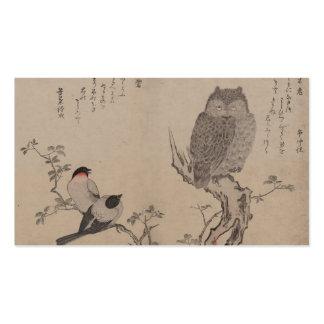 Bullfinch and horned owl - Kitagawa Utamaro Business Card Template