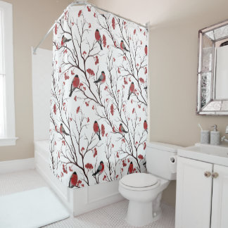 Bullfinch Birds and Berries Marsala Red Shower Curtain