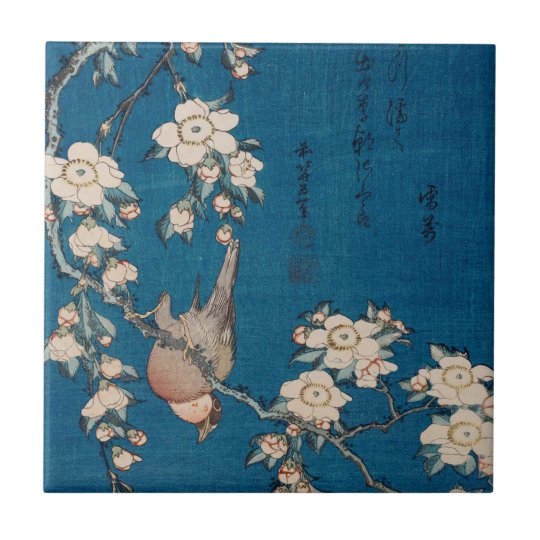 Bullfinch on a Weeping Cherry Branch by Hokusai