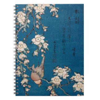 Bullfinch on a Weeping Cherry Branch by Hokusai Spiral Notebook