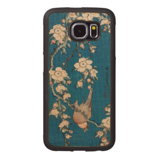 Bullfinch on a Weeping Cherry Branch by Hokusai Wood Phone Case