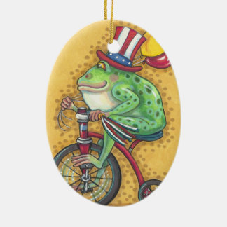 BULLFROG 4TH OF JULY ORNAMENT Oval