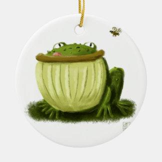 Bullfrog and Fly Illustration Art Christmas Ornament