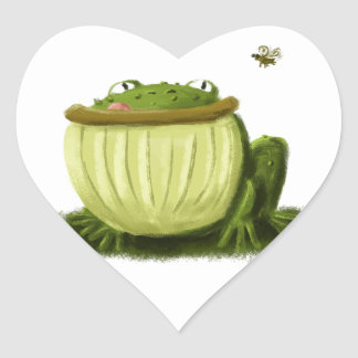 Bullfrog and Fly Illustration Art Heart Sticker