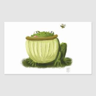 Bullfrog and Fly Illustration Art Rectangular Sticker