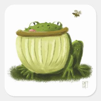Bullfrog and Fly Illustration Art Square Sticker
