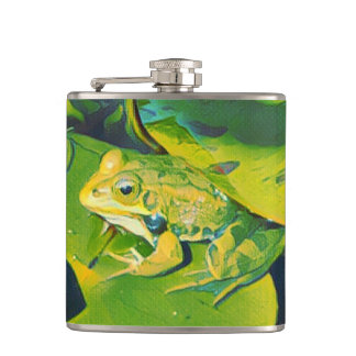 Bullfrog Painting Hip Flask