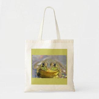 Bullfrog with big eyes glaring at me canvas bags