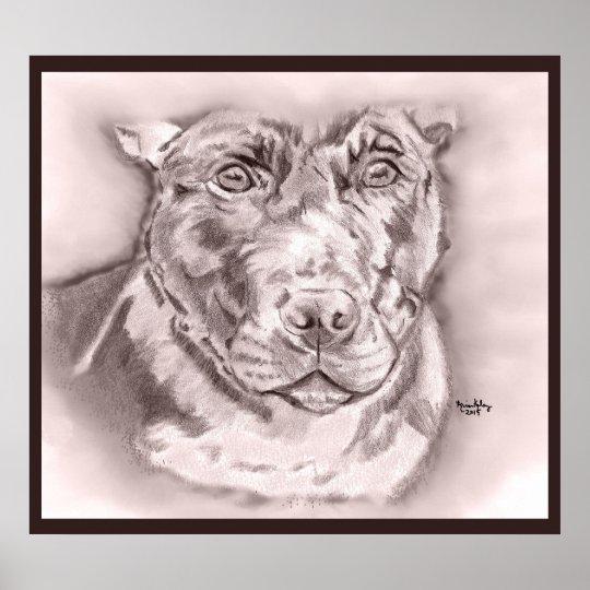 Bullied (Staffordshire Bull Terrier sketch) Poster