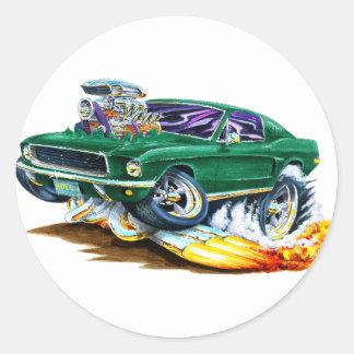 Bullitt Mustang with Big Engine Round Sticker
