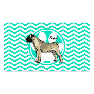 Bullmastiff Aqua Green Chevron Business Card