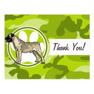 Bullmastiff; bright green camo, camouflage postcard