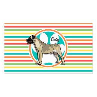 Bullmastiff Bright Rainbow Stripes Business Card