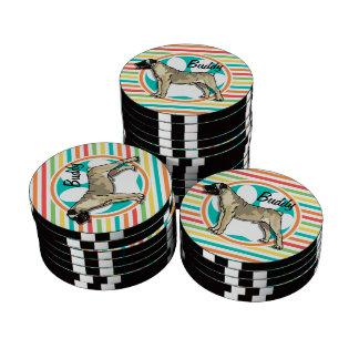 Bullmastiff; Bright Rainbow Stripes Poker Chips Set