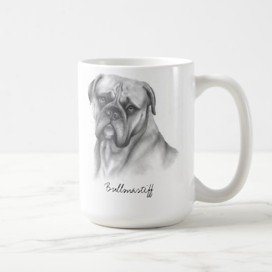 Bullmastiff Created as a Pencil Drawing Coffee Mug