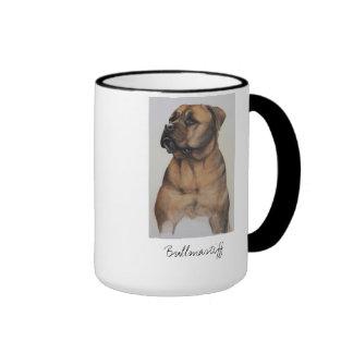Bullmastiff Dog Painted in Watercolour Ringer Mug