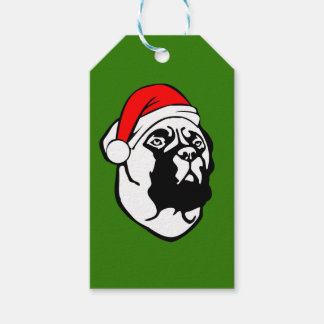 Bullmastiff Dog with Christmas Santa Hat