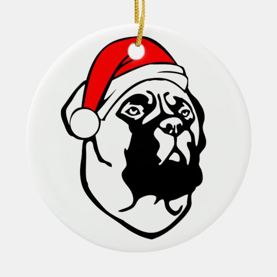 Bullmastiff Dog with Christmas Santa Hat Round Ceramic