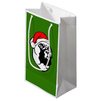 Bullmastiff Dog with Christmas Santa Hat Small Gift Bag