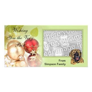 Bullmastiff ~ Green Leaves Design Customised Photo Card