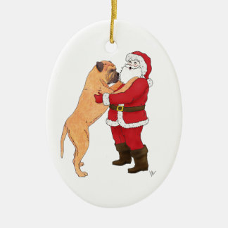 Bullmastiff Jowly Christmas Greeting Christmas Ornament