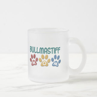 BULLMASTIFF MOM Paw Print 1 Frosted Glass Coffee Mug