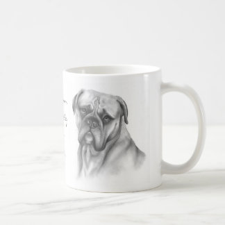 Bullmastiff mug with breed information text