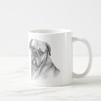 "Bullmastiff on mug with ""Cheer up"" text"