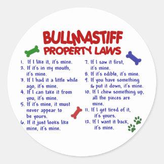 BULLMASTIFF Property Laws 2 Classic Round Sticker