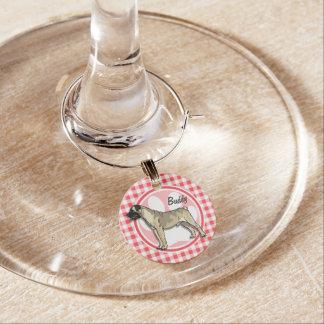 Bullmastiff; Red and White Gingham Wine Charm