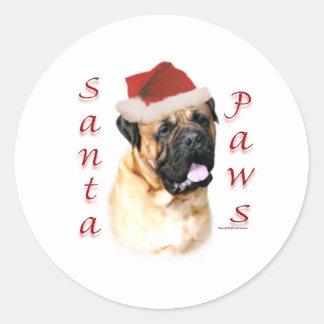 Bullmastiff Santa Paws Classic Round Sticker