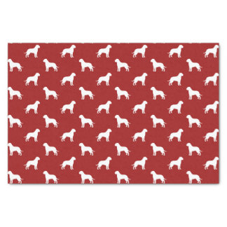 Bullmastiff Silhouettes Pattern Red Tissue Paper
