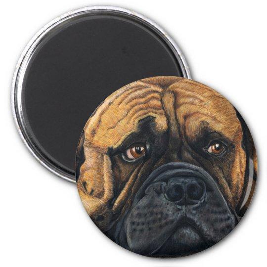 Bullmastiff Waiting - Dog Breed Art 6 Cm Round Magnet