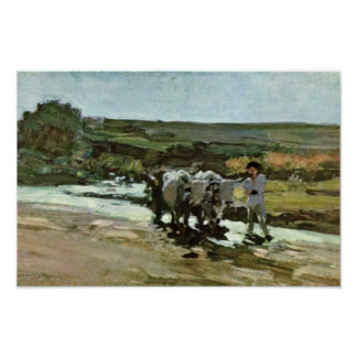 Bullock Cart In The Ford By Grigorescu Nicolae Poster