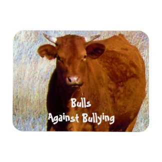 Bulls Against Bullying - Red - Cowboy Parenting Vinyl Magnet