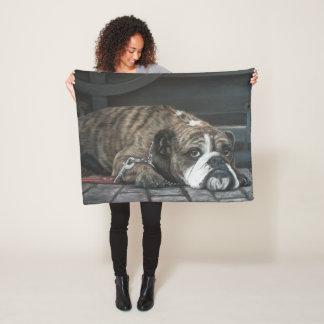 Bully Blues Bulldog Fleece Blanket