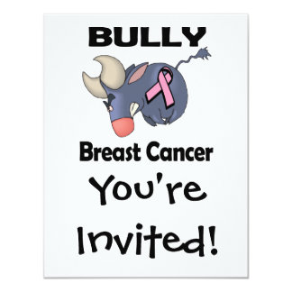 "BULLy Breast Cancer 4.25"" X 5.5"" Invitation Card"