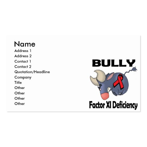 BULLy Factor XI Deficiency Business Card
