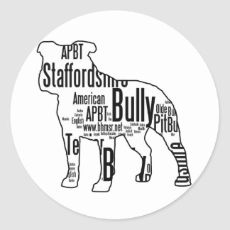 Bully Shape with rescue words Classic Round Sticker