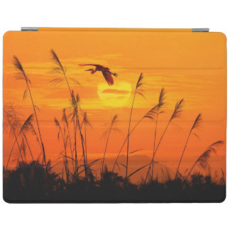 Bulrushes against sunlight over sky background iPad cover