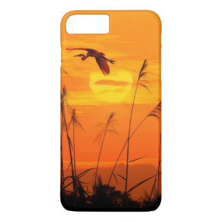 Bulrushes against sunlight over sky background iPhone 8 plus/7 plus case