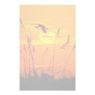 Bulrushes against sunlight over sky background stationery