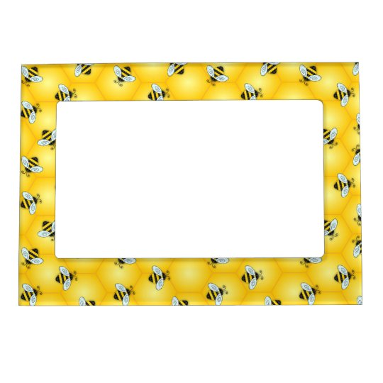 Bumble Bee and Golden Honeycomb Pattern Magnetic Picture