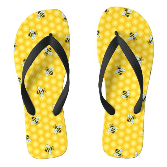 Bumble Bee and Honeycomb Pattern Flip Flops
