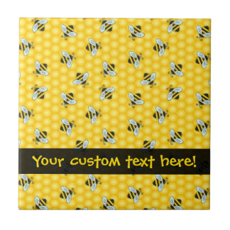 Bumble Bee and Honeycomb Pattern Tile