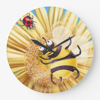 BUMBLE BEE AND LADY BIRD... LARGE CLOCK