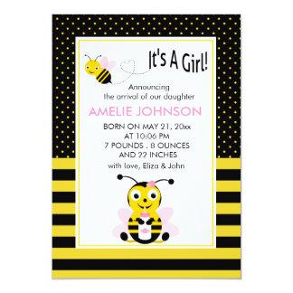 Bumble Bee Baby Girl Birth Annoucement Card 13 Cm X 18 Cm Invitation Card