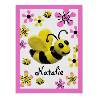 Bumble Bee Baby Girl Shower Poster